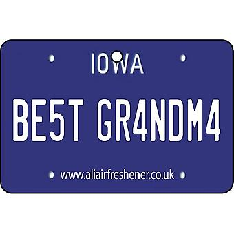 Iowa - Best Grandma License Plate Car Air Freshener