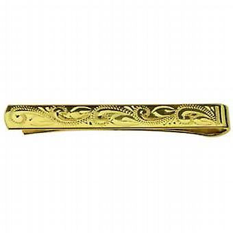 Tvrdé zlato pozlátené 6x55mm Stredná ruka vyrytá kravatu slide