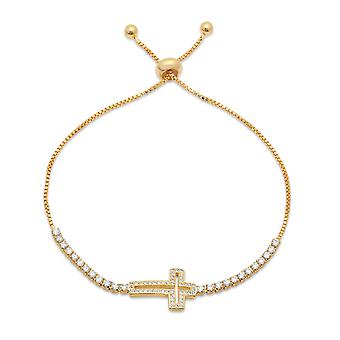 Ladies 18K Gold Plated Brass Cross Drawstring Bracelet