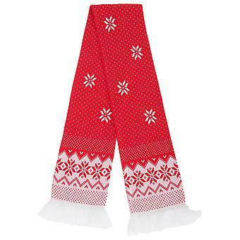 FLOSO Unisex Noel Tasarım Saçak ile Kış Eşarp