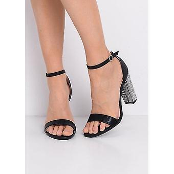 Glitter Diamante Block högklackade ankelbandet krängt sandaler svart