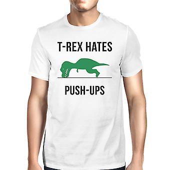 T-Rex empuje Ups blanco para hombres algodón camiseta entrenamiento divertidos regalos