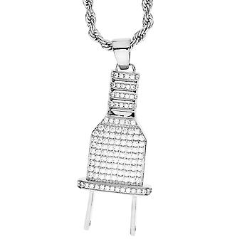 Iced Out Bling Micro Pave Kette - NETZSTECKER silber