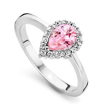 Orphelia Silver 925 Ring Drop roze kleur zirkonium ZR-7226/PI