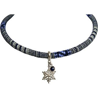 Gemshine halskæde vedhæng 925 sølv AZTEC BOHO snefnug safir blå