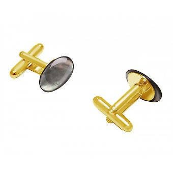 Herren - Manschettenknöpfe – Vergoldet – Perlmutt – Grau – 16 mm