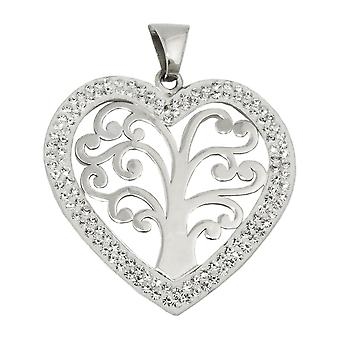 Pendant 25x25mm heart with tree of life Silver 925