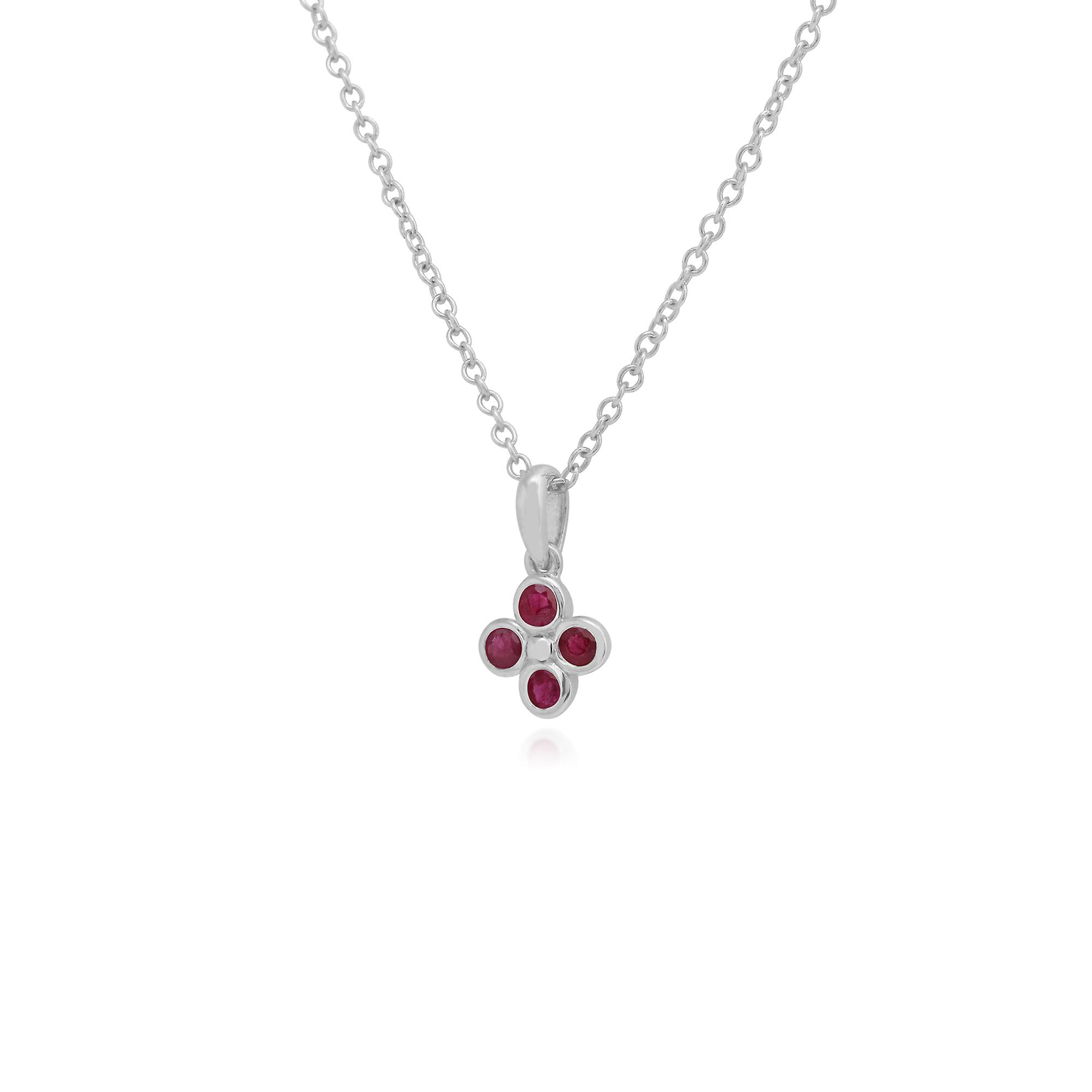 Gemondo Sterling Silver 0.25ct Ruby Cluster Pendant on 45cm Chain