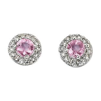 Elements Gold Sapphire and Diamond Cluster Stud Earrings - Pink/White Gold