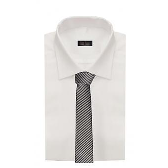 Tie tie tie tie narrow 6cm black/white striped Fabio Farini