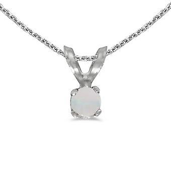 LXR 14k Hvidguld Runde Opal Vedhæng 0,04 ct