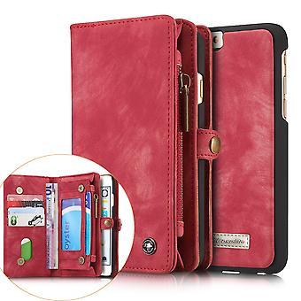 CASEME iPhone 6s 6 Retro Split portefeuille en cuir Case-rouge