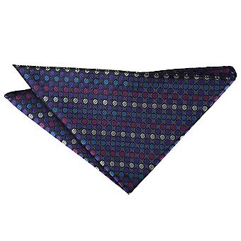 Purple, Blue & Pink Chequered Polka Dot Pocket Square