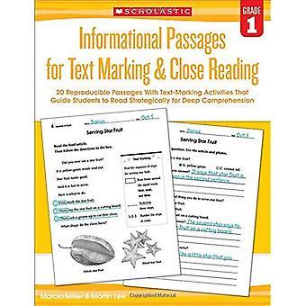 Informativt passager för Text märkning & nära läsning: årskurs 1:20 reproducerbara passager med Text-märkning aktiviteter...