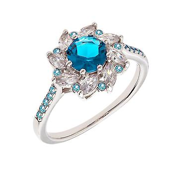 Bertha Juliet Collection Women's 18k WG Plated Blue Flower Fashion Ring Size 7