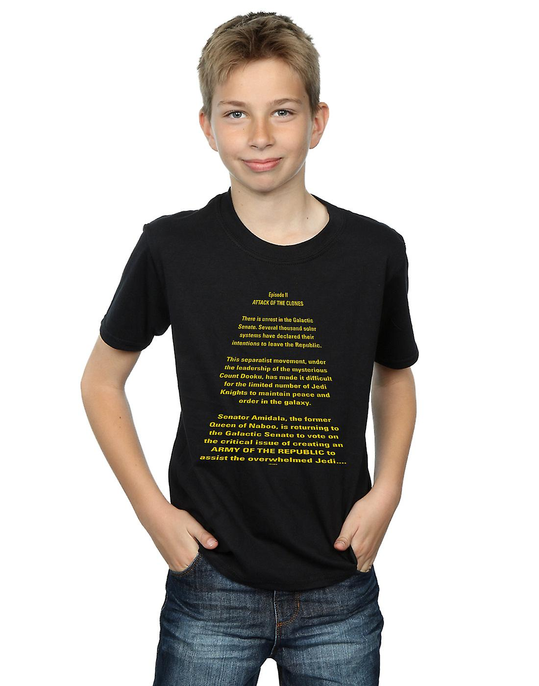 Star Wars Boys Attack Of The Clones Opening Crawl T-Shirt