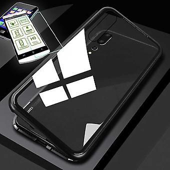Xiaomi Redmi ノート 7/ノート7プロ360度マグネット/金属/ガラスバッグケースブラック/トランスペアレント + 0.26 mm H9 ハードガラス