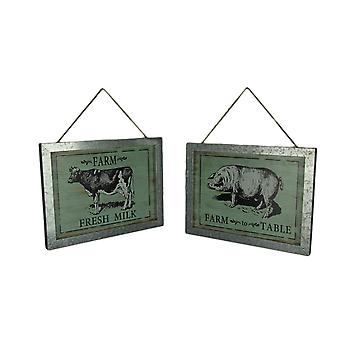 Metal Framed Wood Farmhouse Cow and Pig Wall Hangings Set of 2