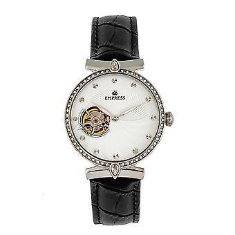 Empress Edith Semi-Skeleton Leather-Band Watch - White