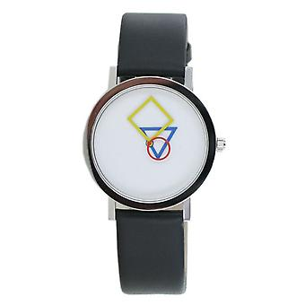 Aristo Bauhaus Ladies Watch Stainless Steel 4D85S Leather Black