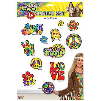 Bristol Novelty Hippie Decor 12 Piece Cutout Set