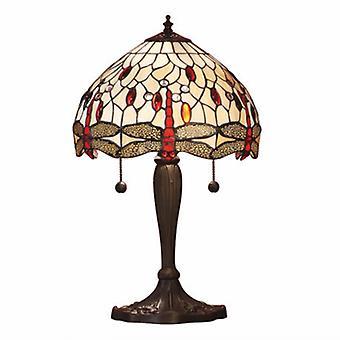 2 lekka Lampa stołowa ciemny brąz, beżowy, szkło Tiffany