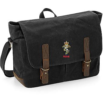 REME Royal Electrical Mechanical Engineers Name - Licensed British Army Embroidered Waxed Canvas Messenger Bag