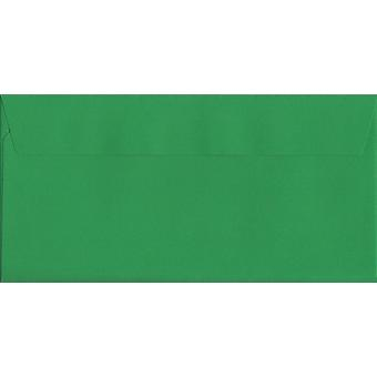 Holly Green Peel/Seal DL+ Coloured Green Envelopes. 120gsm Luxury FSC Certified Paper. 114mm x 229mm. Wallet Style Envelope.