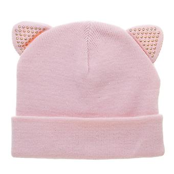 Beanie Cap - Blush w/ Sequin Cat Ears New be5ug8plw