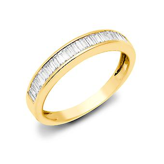 Jewelco London Solid 18ct Yellow Gold Channel Set Baguette G 0.25ct Diamond Dainty Band Eternity Ring 3mm
