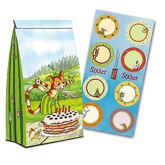 Pettson and Findus party original party bags with stickers 8 pieces birthday decoration