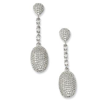 925 Sterling Silver Rhodium plated and CZ Cubic Zirconia Simulated Diamond Fancy Polished Dangle Post Earrings Jewelry G