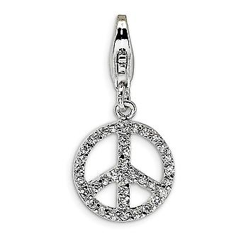 925 Sterling Silver Rhodium plaqué Fancy Lobster Closure Small CZ Cubic Zirconia Simulated Diamond Peace Sign With Lobst