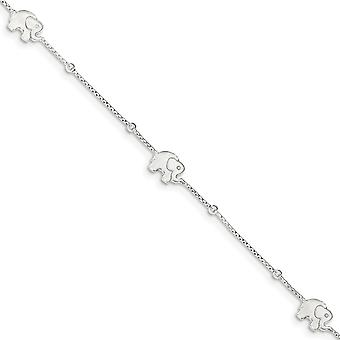 925 Sterling Silver Fancy Lobster Closure Polished Elephant With 2inch Ext. Anklet 9 Inch Jewelry Gifts for Women