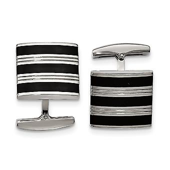 Stainless Steel Polished Grooved Black Rubber Stripes Cuff Links Jewelry Gifts for Men