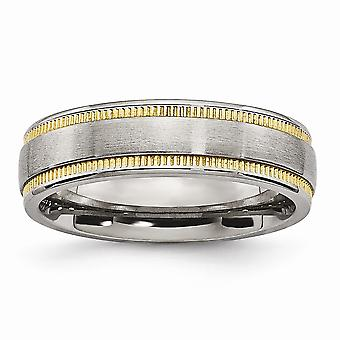 6mm Edelstahl gebürstet und poliert gelb Ip vergoldet Band Ring Schmuck Geschenke für Frauen - Ring Größe: 6 bis 13