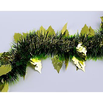 Gold Holly Leaf, Black & Green Tinsel Christmas Tree Decoration - 2m