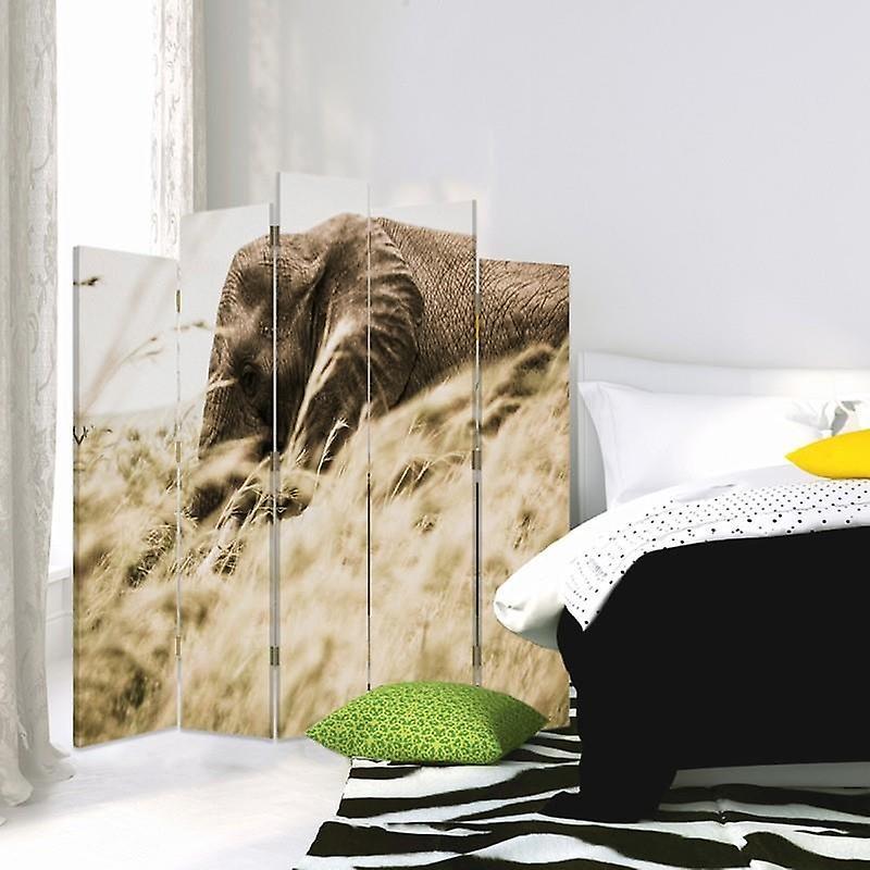 Diviseur de pièce décorative, 5 panneaux, double-sided, toile rotative de 360 , éléphant dans l'herbe