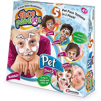 Face Paintoos midlertidig ansigt tatoveringer-Pet Pack