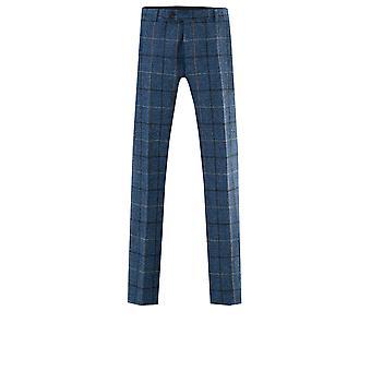 Scottish Harris Tweed Mens Blue/Black Check Tweed Trousers Regular Fit 100% Wool