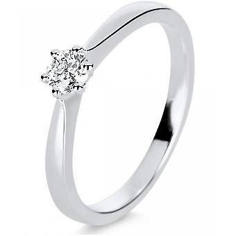 Bague en diamant - 14K 585/- or blanc - 0.25 ct. Taille 56