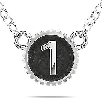 BIXLER Number '1' Fashion Pendant Necklace In Sterling Silver