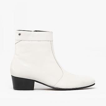 Club Cubano Caesar Mens Leather Cuban Heel Boots White