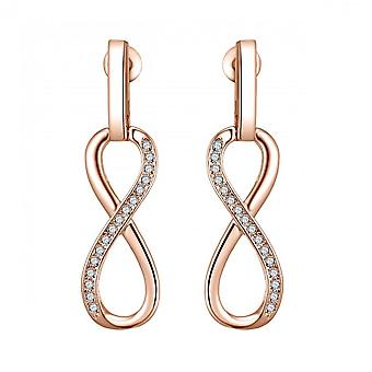 Rose gold infinity drop earrings created with swarovski® crystals