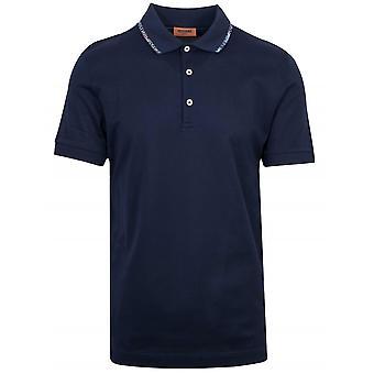 MISSONI Missoni Navy Contrast Collar Polo Shirt