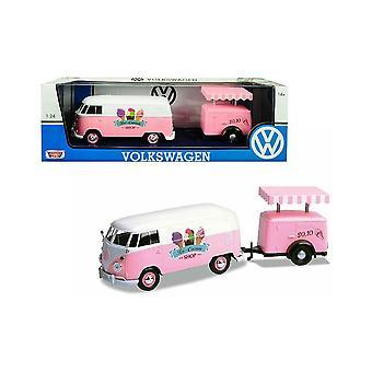 MotorMax Motormax Volkswagen VW T2 Van & Eisanhänger 1:24 Rosa