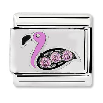 Nomination Classic Flamingo & Pink CZ Link Charm 330304/31