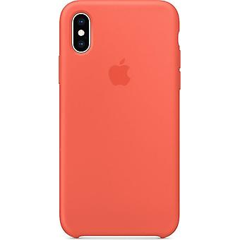 Original Packed Apple Silicone Microfiber Cover Case for iPhone XS - orange nectarine