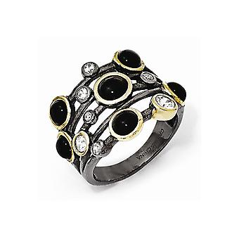 Cheryl M 925 Sterling Silver Black Rhodium With Gold placage Simulated Onyx et CZ Ring Jewelry Gifts for Women - Ring S