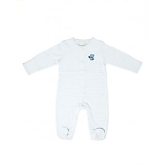 The Essential One Baby Boys Sleepsuit In White And Aqua Stripe